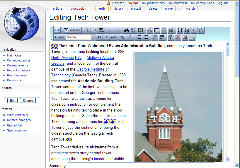 WYSIWYG editor interface featuring a copy of the Tech Tower article